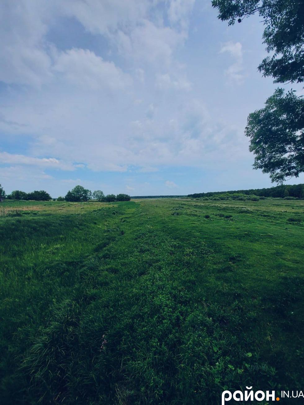 Костел стоїть на окраїні. Його оточують зелені влітку простори